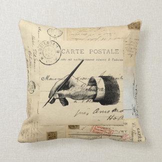 Vintage Fountain Pen French Postcard Art Pillow Coussin Décoratif