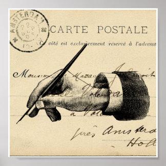 Vintage Fountain Pen French Postcard Art Print Poster