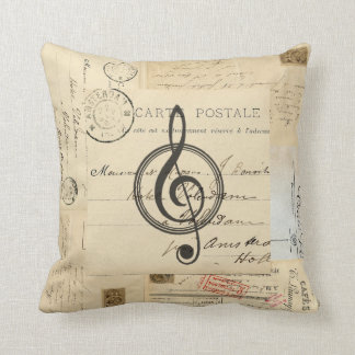 Vintage Music Clef French Postcard Pillow Oreillers