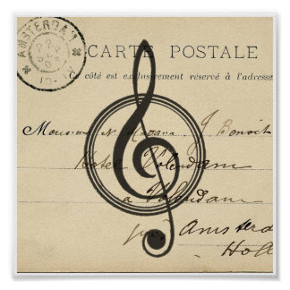 Vintage Musical Clef French Postcard Art Print Poster