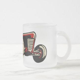 vintage racecar mug en verre givré