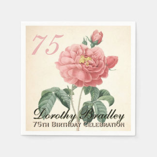 Vintage Rose 75th Birthday Party Paper Napkins Standard Cocktail Napkin