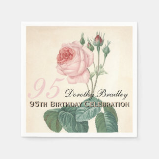 Vintage Rose 95th Birthday Party Paper Napkins Standard Cocktail Napkin