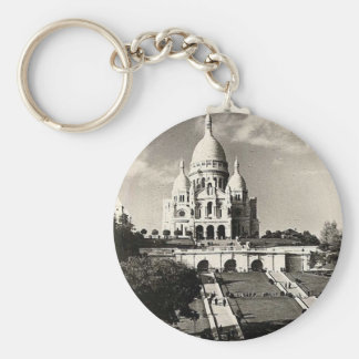 Vintage Sacré-Coeur de Montmartre dans le Paris Porte-clé Rond
