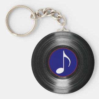 vinyle de note musicale porte-clé rond