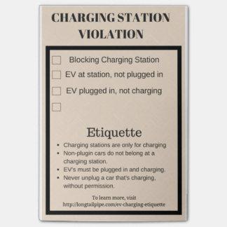 Violation de station de charge de voiture post-it®