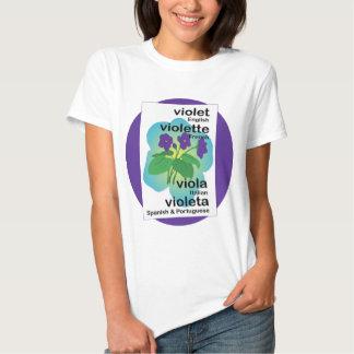 Violette dans beaucoup de langues t-shirts