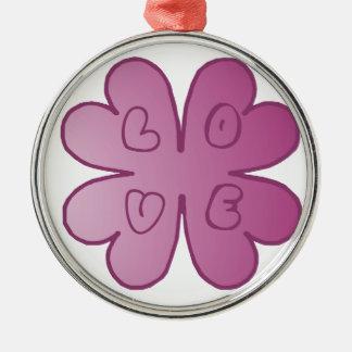 Violette de fleur d'AMOUR Ornement Rond Argenté