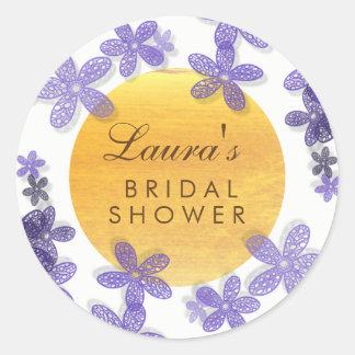 Violette nuptiale florale de lavande d'aquarelle sticker rond