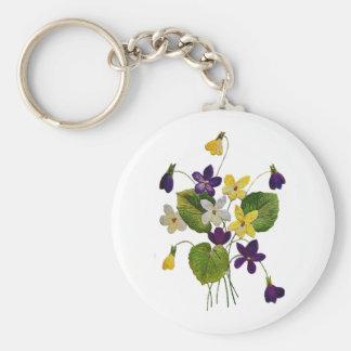 Violettes sauvages assorties faites en broderie de porte-clé rond