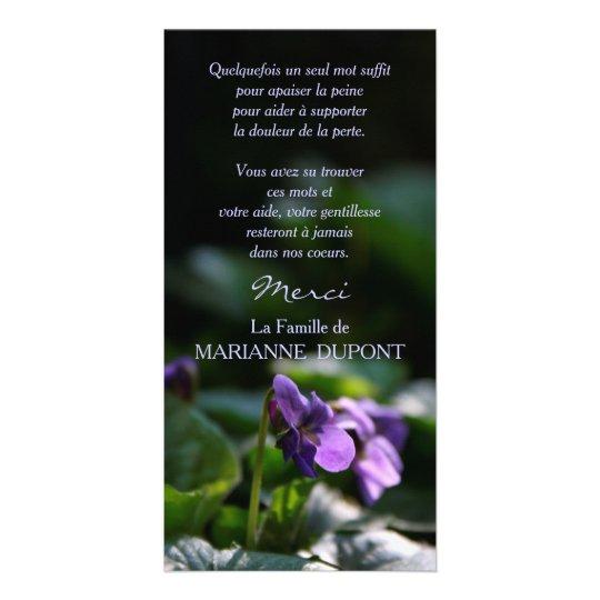 Violettes Sauvages Carte de Remerciement Deuil