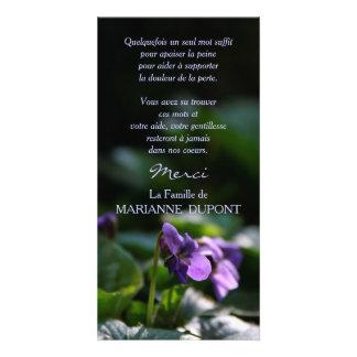 Violettes Sauvages Carte de Remerciement Deuil Modèle Pour Photocarte