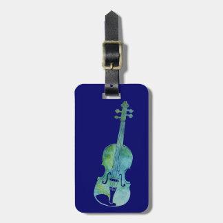Violon bleu frais étiquette pour bagages
