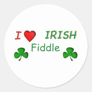 Violon d'Irlandais d'amour Autocollants Ronds