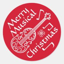 Violon rouge et blanc de Joyeux Noël musical Adhésifs Ronds