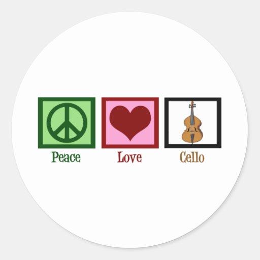 Violoncelle d'amour de paix autocollant rond
