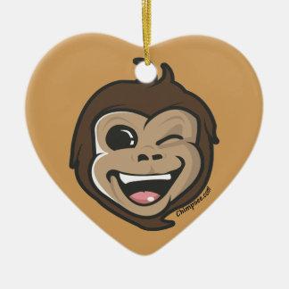 Visage adorable de singe mignon de Chimpsee Ornement Cœur En Céramique
