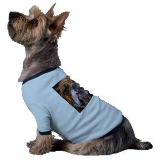 Visage anglais de bouledogue mauvais t-shirt ringer pour chien