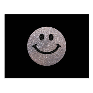 Visage argenté de smiley de scintillement de faux cartes postales