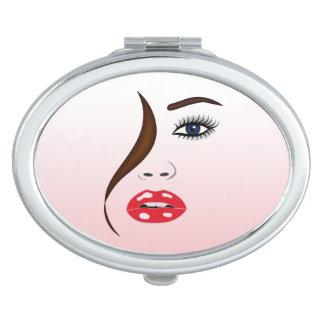 Visage avec le miroir compact ovale Girly de rouge