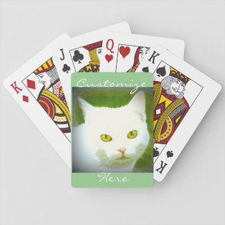 Visage blanc de chat jeux de cartes