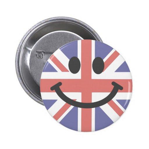 Visage britannique de smiley de drapeau badge avec épingle
