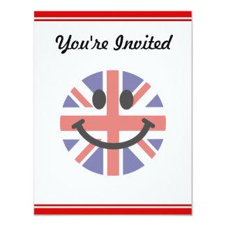 Visage britannique de smiley de drapeau carton d'invitation 10,79 cm x 13,97 cm