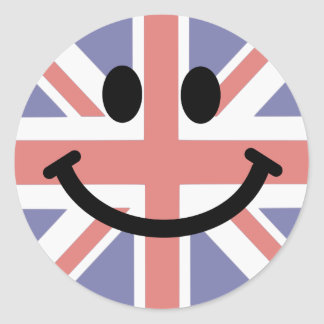 Visage britannique de smiley de drapeau sticker rond