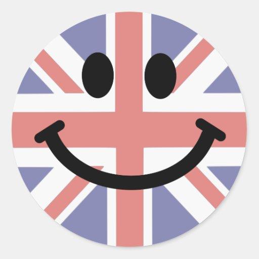 visage britannique de smiley de drapeau sticker rond zazzle. Black Bedroom Furniture Sets. Home Design Ideas