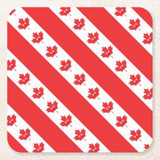 Visage canadien de feuille d'érable dessous-de-verre carré en papier