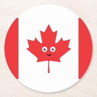 Visage canadien de feuille d'érable dessous-de-verre rond en papier