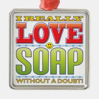Visage d'amour de savon ornement carré argenté