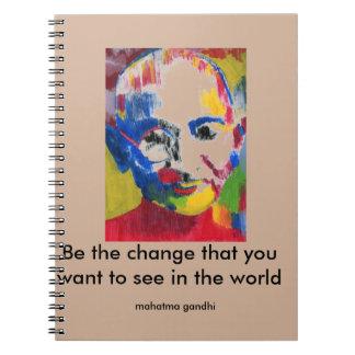 Visage de carnet de Mahatma Gandhi de couleurs