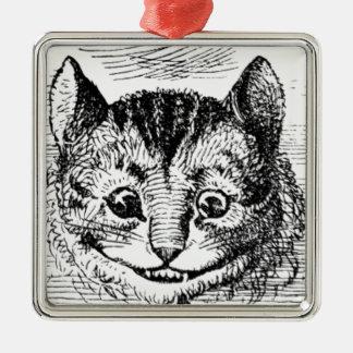 Visage de chat de Cheshire Ornement Carré Argenté