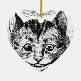Visage de chat de Cheshire Ornement Cœur En Céramique