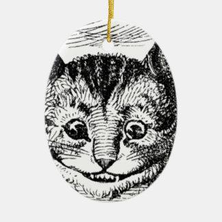 Visage de chat de Cheshire Ornement Ovale En Céramique