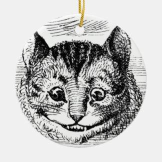 Visage de chat de Cheshire Ornement Rond En Céramique