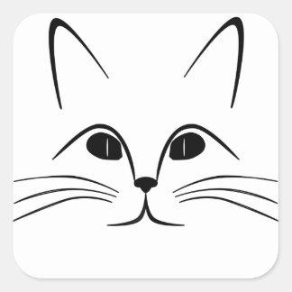 visage de chat noir et blanc sticker carré