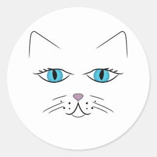 Visage de chat sticker rond