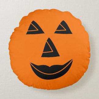 Visage de citrouille de Halloween Coussins Ronds