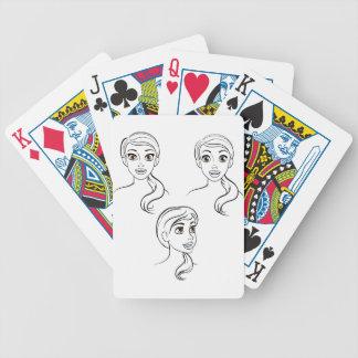 Visage de femme de bande dessinée jeu de cartes