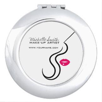 Visage de femme d'icône de maquillage dans des miroirs à maquillage