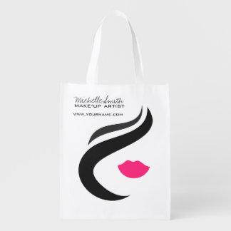 Visage de femme d'icône de maquillage dans des sac réutilisable d'épcierie