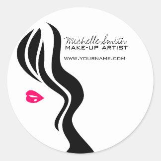 Visage de femme d'icône de maquillage dans des sticker rond
