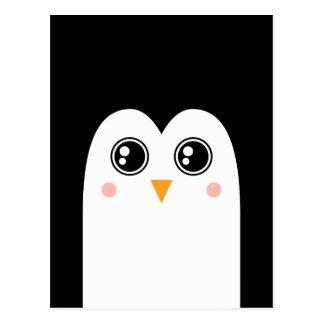 Visage de pingouin avec la grande carte postale de