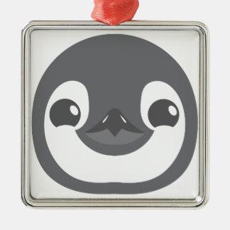 visage de pingouin de bébé ornement carré argenté