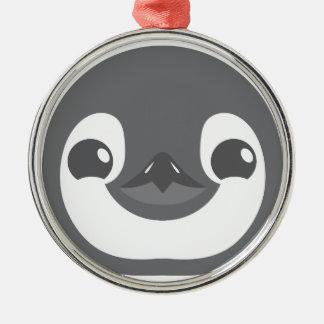 visage de pingouin de bébé ornement rond argenté
