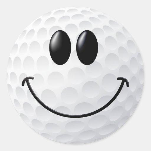 Visage de smiley de boule de golf adhésifs ronds