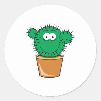 Visage de smiley de cactus autocollants ronds