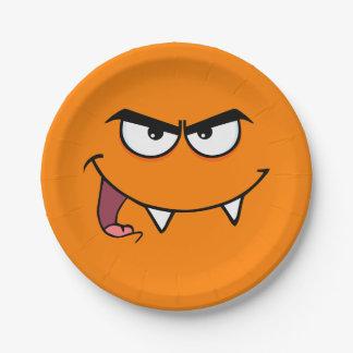 Visage de smiley de monstre de crocs de Halloween Assiettes En Papier